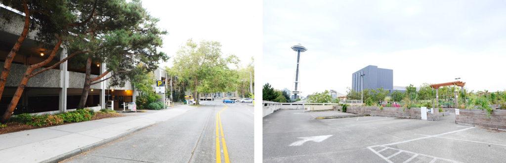 立体駐車場(写真左)の上にあるコミュニティガーデンとシアトルのシンボルタワー・スペースニードル