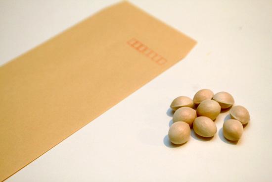 殻のついた銀杏と封筒を用意