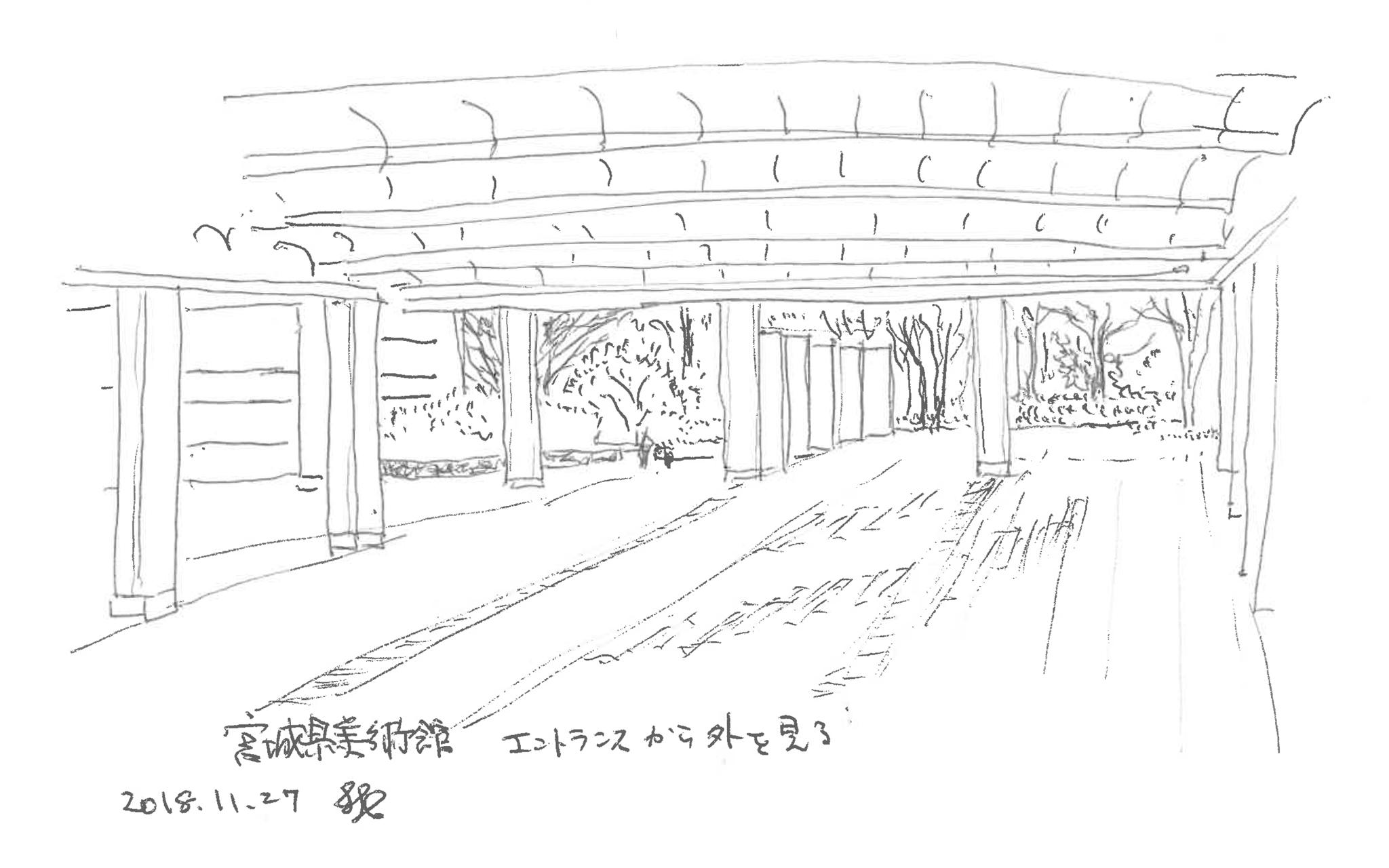 まちの中の建築スケッチ 宮城県美術館 エントランス