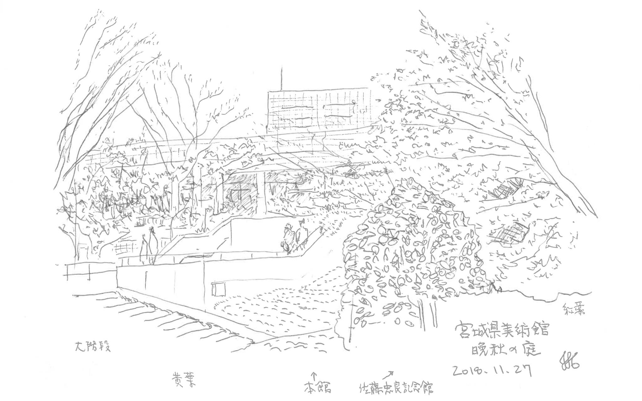 まちの中の建築スケッチ 宮城県美術館 庭