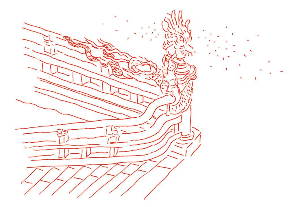 赤い竜の彫刻しゅんしゅん画