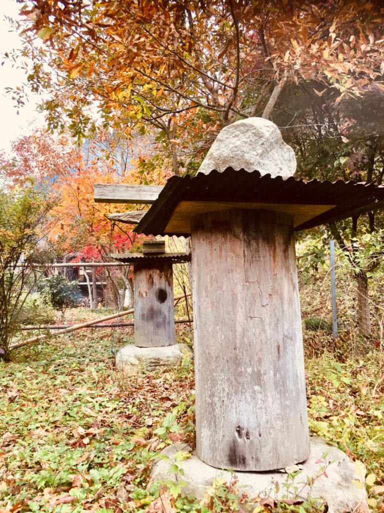 トタンと石で雨から守る日本ミツバチの巣