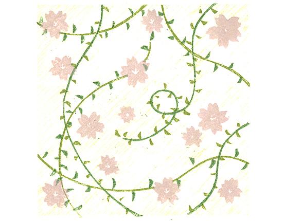 たかだみつみ木版画桜