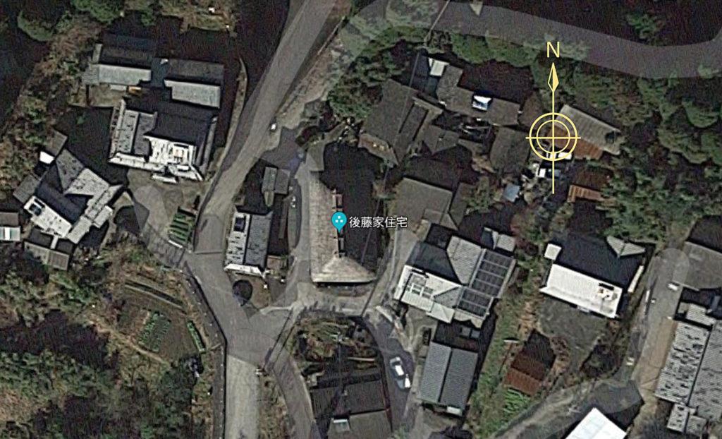 大分の最古の民家後藤家住宅の俯瞰図