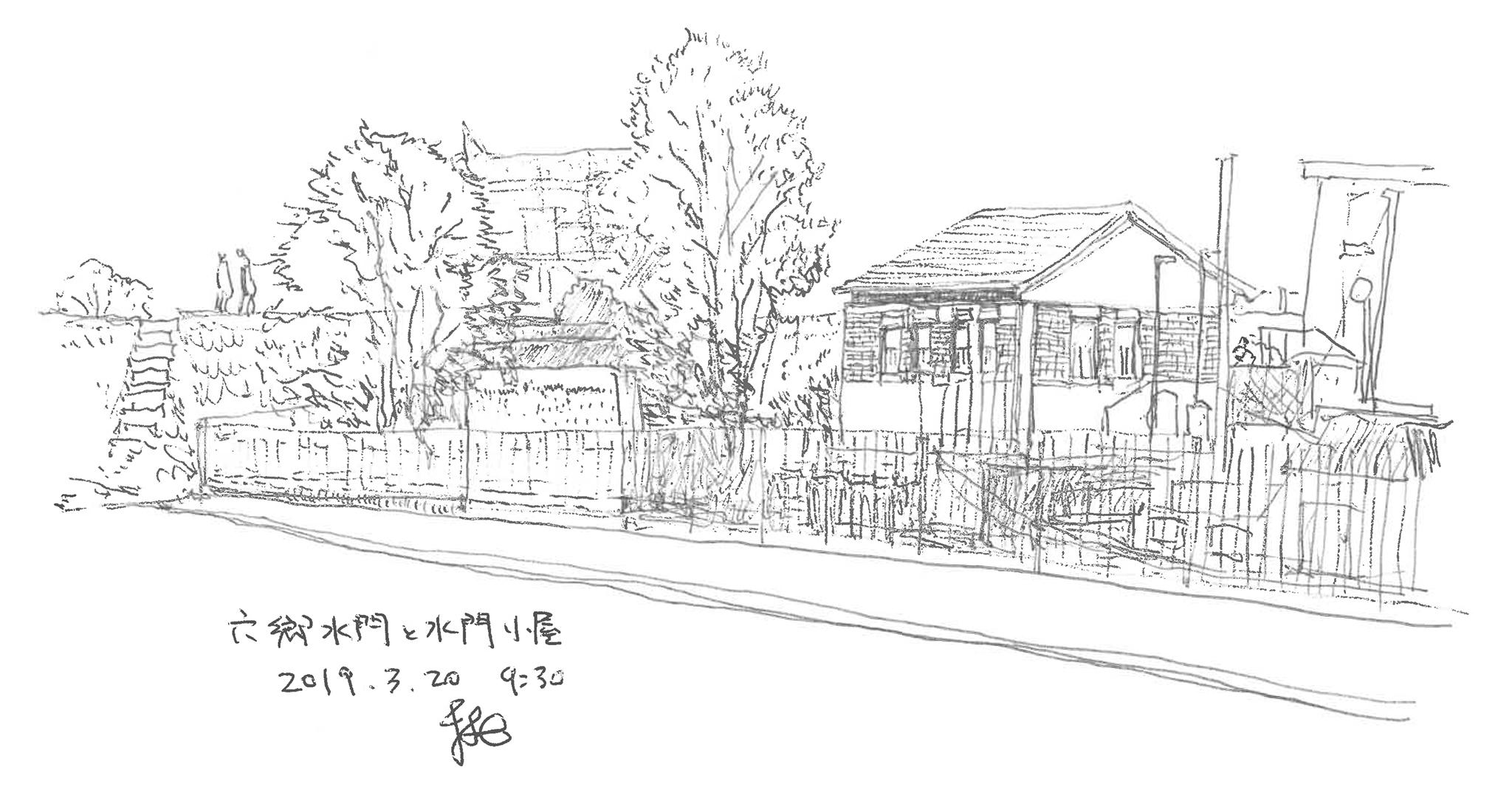 まちの中の建築スケッチ 神田順 六郷水門 水門小屋