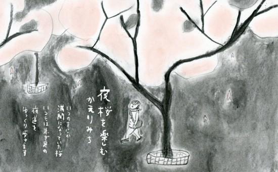 いざわ直子作 夜桜を楽しむ帰り道
