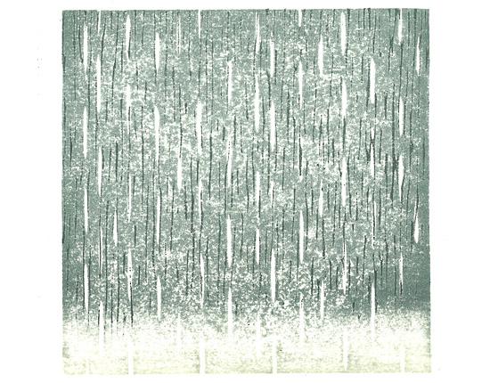 利休鼠の雨版画