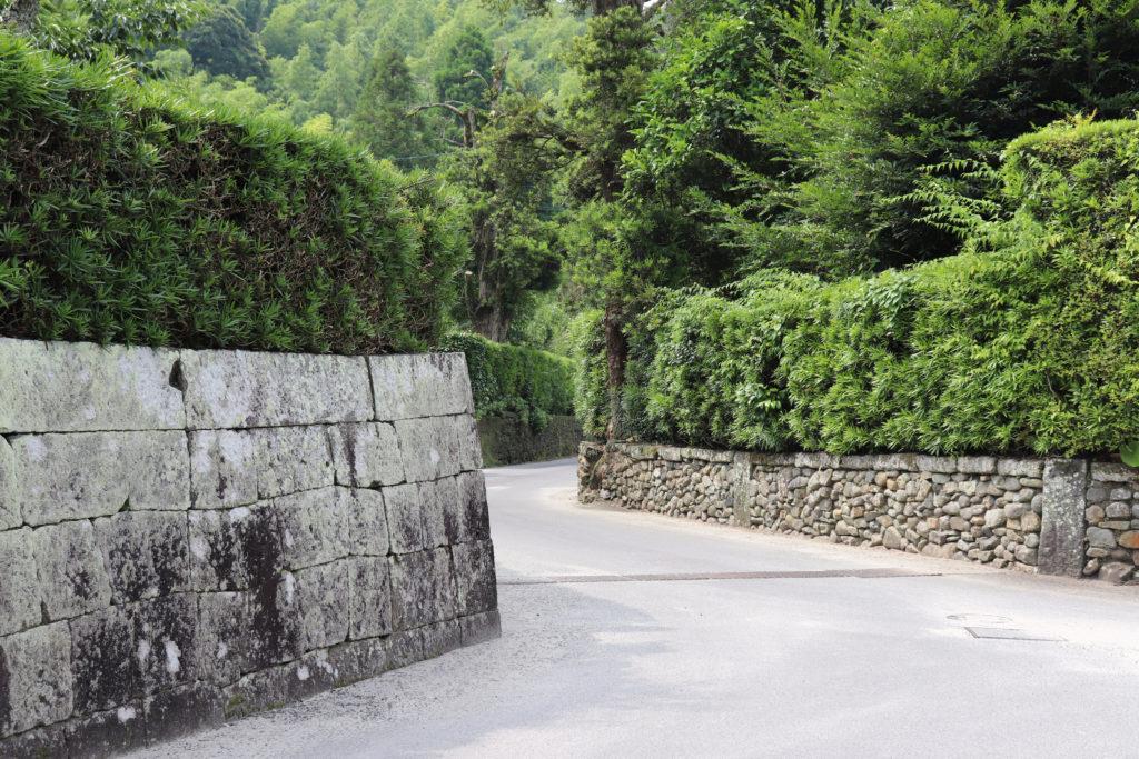 防御の町鹿児島の薩摩の武家屋敷群の路地