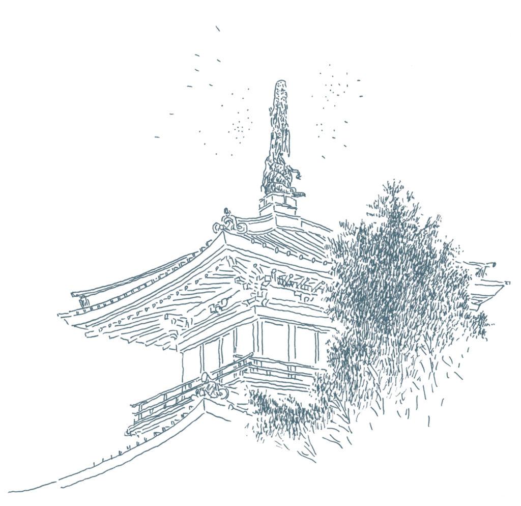箱根富士屋ホテル屋根に鎮座する龍の彫刻