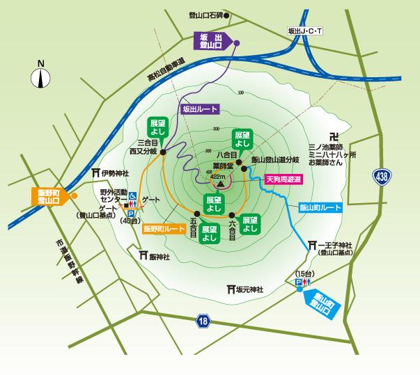 丸亀飯野山登山ルートマップ