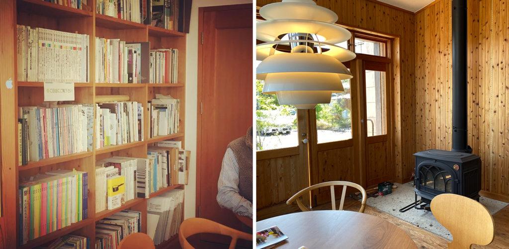 薪ストーブと北欧デザインのライトの部屋