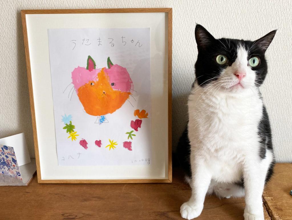 ハチワレ猫と似顔絵