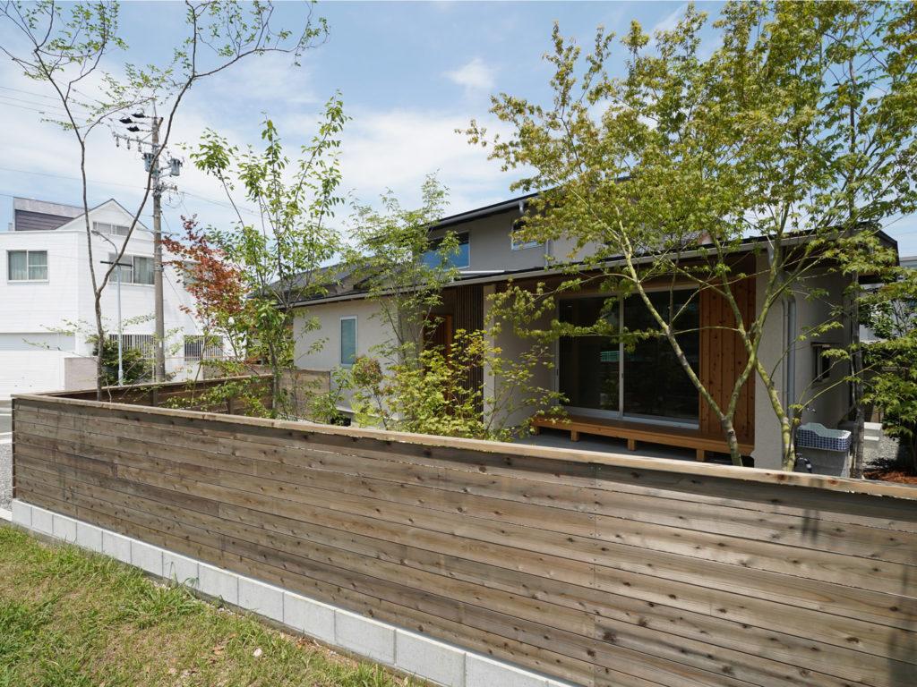 庭の緑が映える家