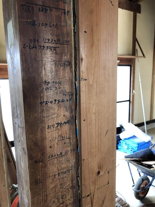 柱には身長を刻んだ思い出が残っている