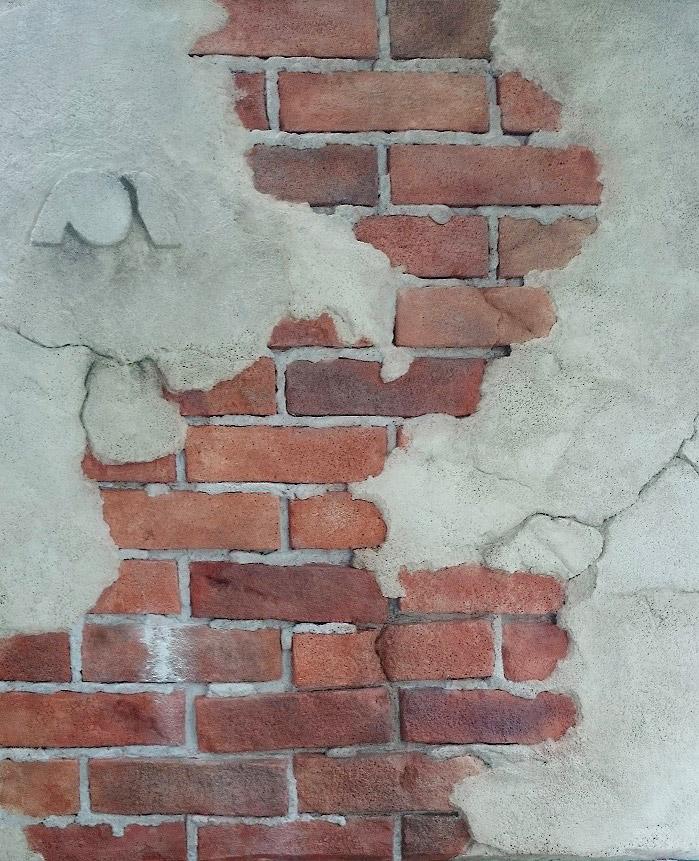 レンガと漆喰風のモルタルアート壁