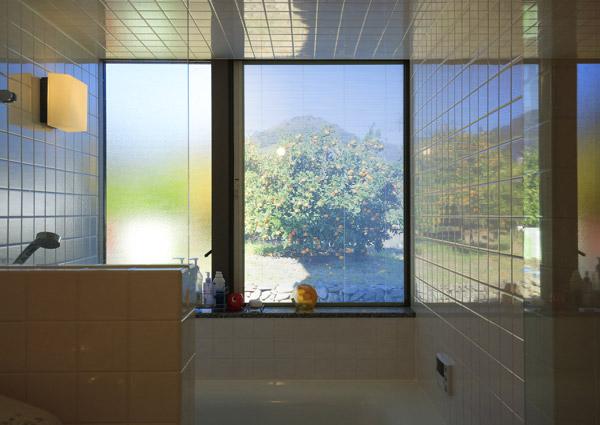 タイル壁のお風呂とみかん畑