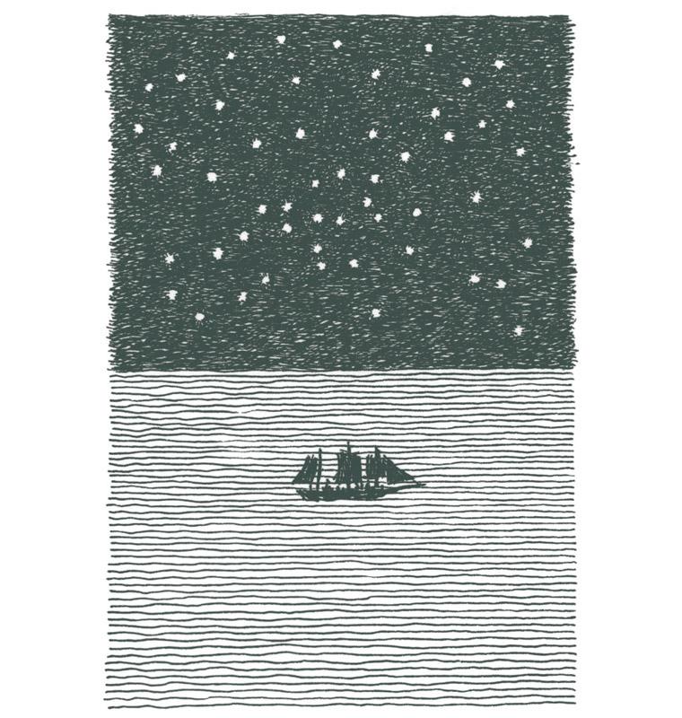 星空とロングボート