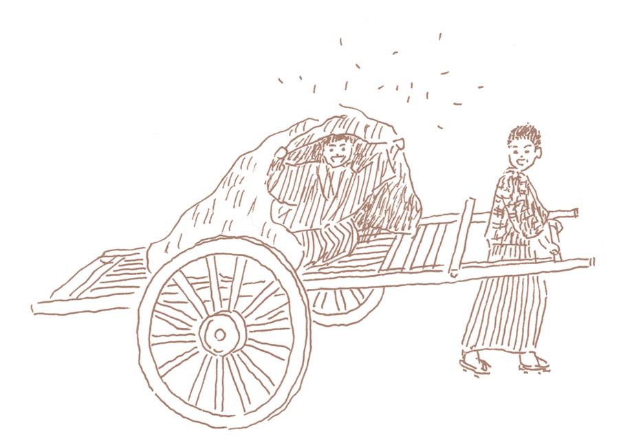 仙太郎が乗り仙之助が引く大八車