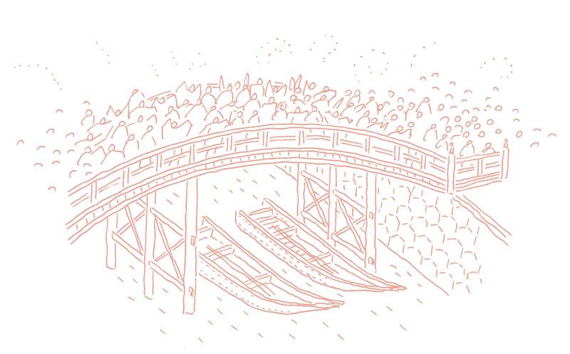 橋のたもとの小舟